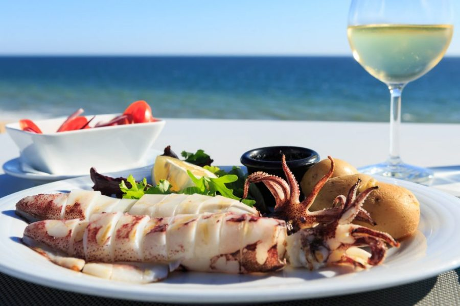 squid and wine in algarve